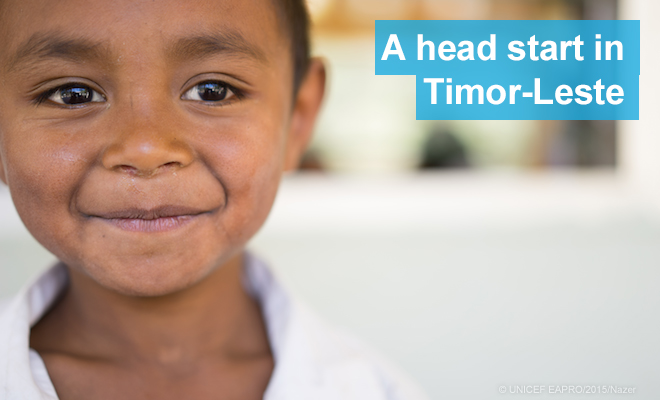 Roque Gomes Soares, 5, attends a UNICEF supported preschool in the remote hills of Timor-Leste.