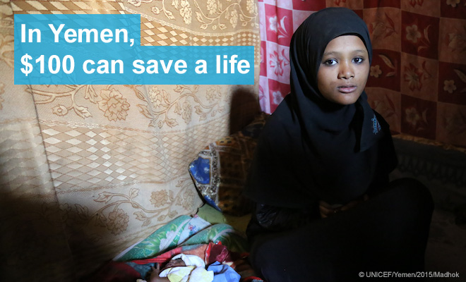Entisar, 16, sits next to her daughter Rahma, who is severely malnourished.