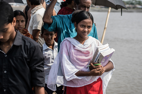Girl on her way to school, Bangladesh