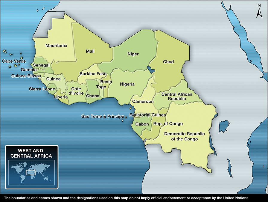 Carte Afrique Ouest Et Centre.Unicef Action Humanitaire Pour Les Enfants 2011 Afrique