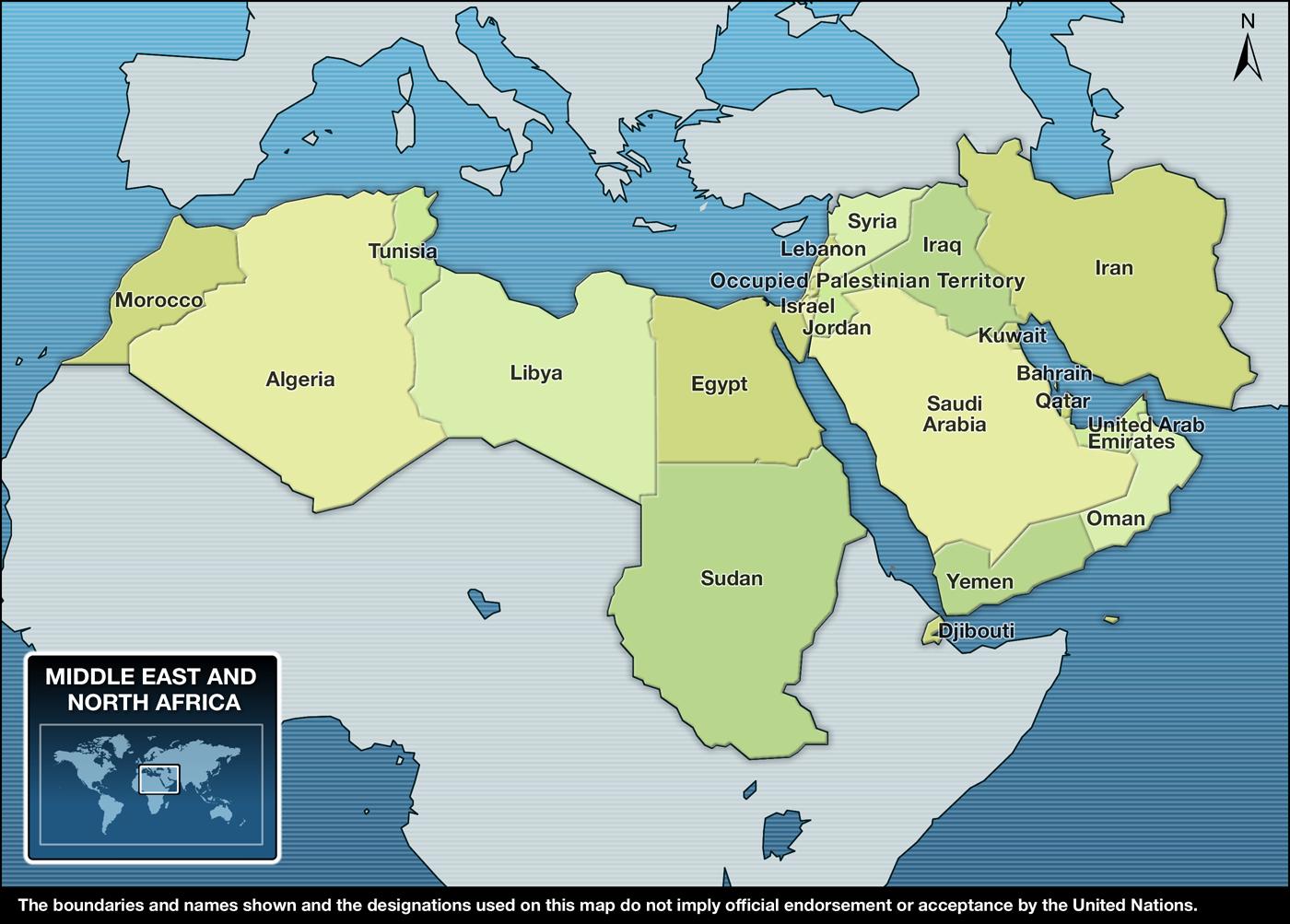 Carte De Lafrique Et Moyen Orient.Unicef Action Humanitaire Pour Les Enfants 2011 Moyen Orient Et