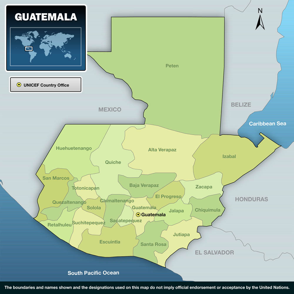UNICEF Humanitarian Action For Children Guatemala - Departments map of guatemala