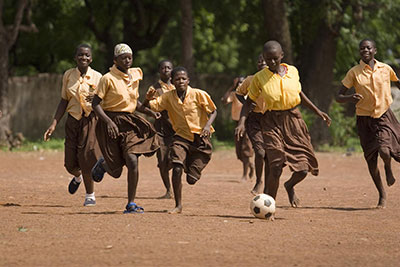 UNICEF Image: Girls play football at Savelugu Junior Secondary School in the town of Savelugu, Ghana, capital of Savelugu-Nanton District in Northern Region.